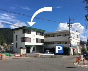 JCF事務局の外観(Pは駐車場です)